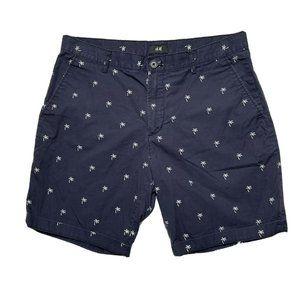 H&M 33 Blue Palm Tree Tropical Beach Shorts